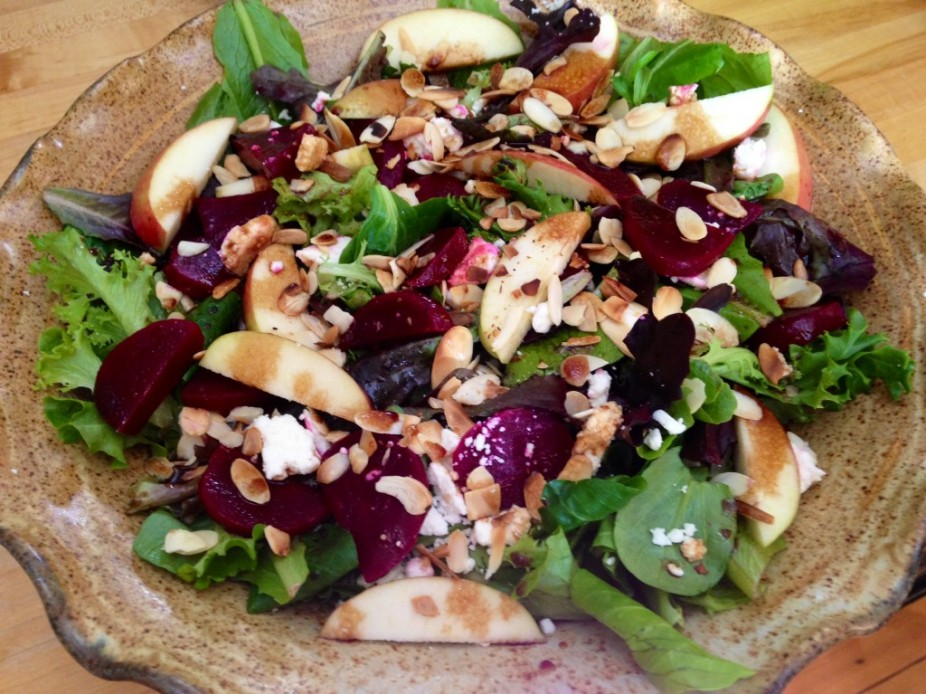 Mixed Greens With Beets, Apples, Toasted Almonds & Feta