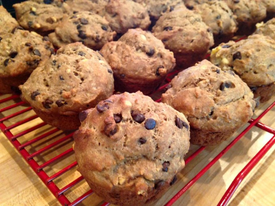 Peanut Butter & Banana Chocolate Chip Muffins