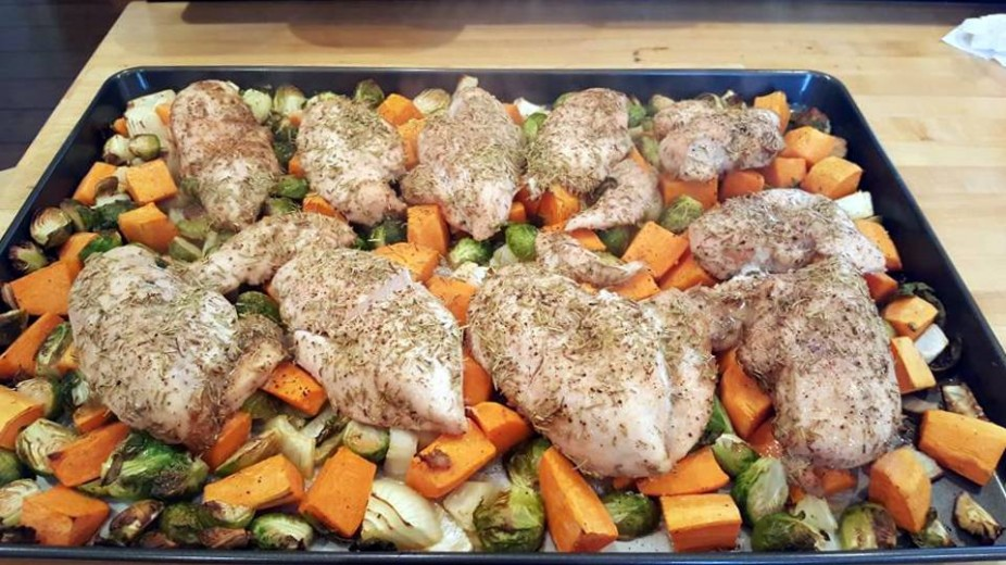 One Pan Baked Chicken with Sweet Potatoes, Brussels Sprouts & Onion