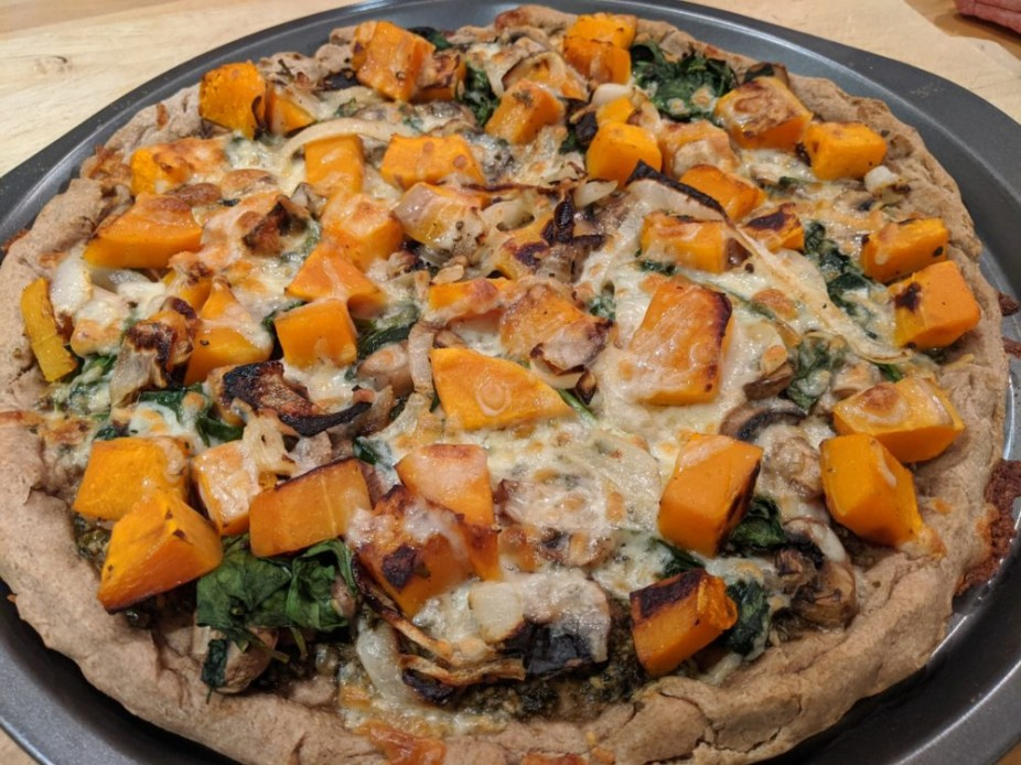 Butternut Squash Pizza with Onions, Mushrooms & Spinach