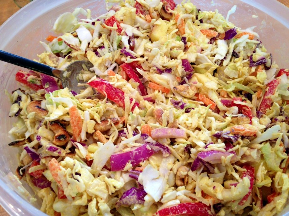 Simple Curried Cashew Cabbage Salad